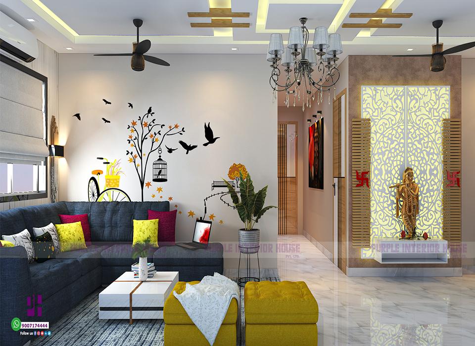 Drawing room interior design in Kolkata.